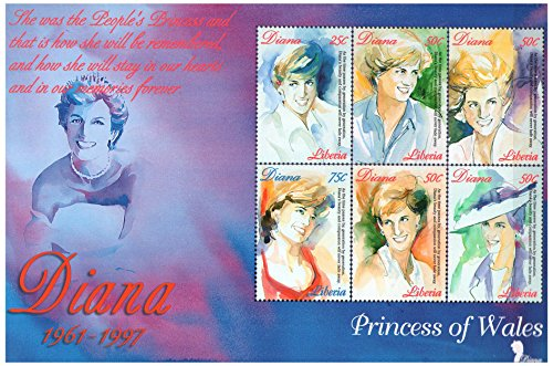 Diana (1961-1997) Princess Of Wales - Commemorative Souvenir stamp sheet - Tribute to Lady Diana - Liberia / 1998 / 6 stamps - perforated / (6 Stamps Souvenir Sheet)