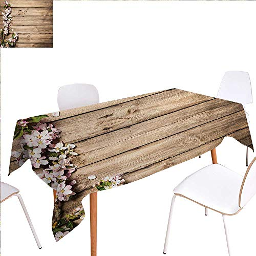 - familytaste Rustic Washable Tablecloth Sweet Spring Flowering Tree Branch on Weathered Wooden Blooming Orchard Image Waterproof Tablecloths 70