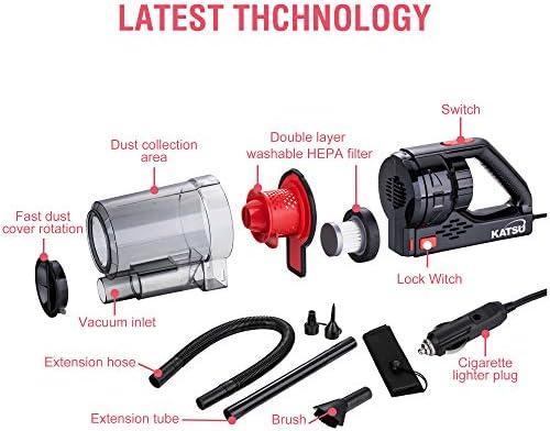 KATSU Car Vacuum Cleaner 150W Powerful Motor 7000PA Handheld Vacuum Super Strong Power Suction Wet/Dry Hoover