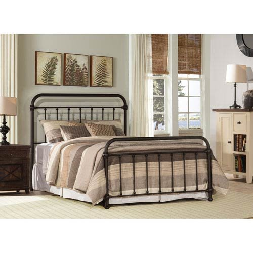 (Hillsdale Kirkland King Metal Spindle Panel Bed in Dark Bronze)
