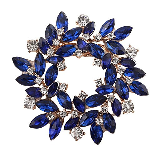 MUZHE Hoop Hollow Crystal Circle Flower Brooch Pin Wreath Corsage for Girl Christmas Gift (Blue)
