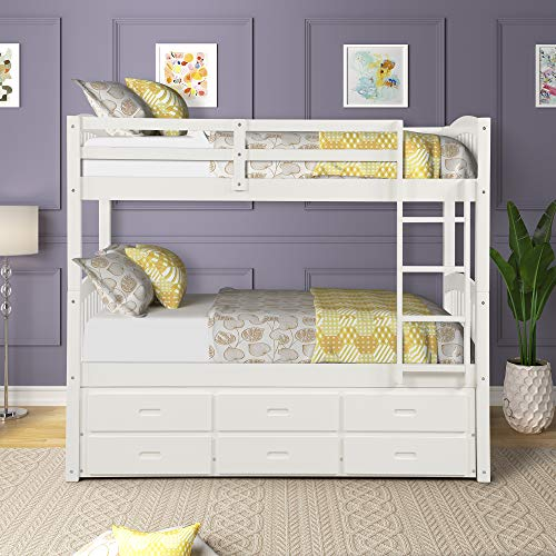 Wood Stairway Bunk Drawers in The Steps and a Twin Trundle Bed, White 2