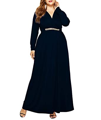 10cc0a0ac31 Lalagen Women Plus Size Casual Long Sleeve V Neck Evening Party Long Maxi  Dress Black M