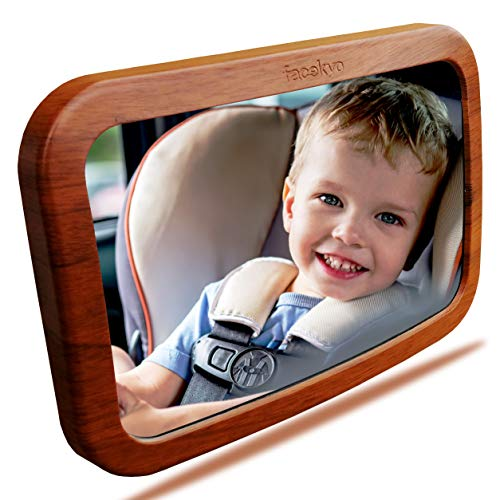 Baby Mirror for Car | Baby Car Mirror | Huge Wide-Angled Without Shaking | TPU Soft Frame | Red Oak Printing by ()