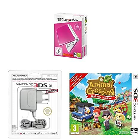 New Nintendo 3DS XL Color Rosa + Adaptador a corriente + Animal ...