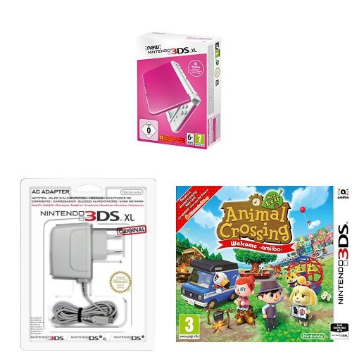 New Nintendo 3DS XL Color Rosa + Adaptador a corriente + Animal ...