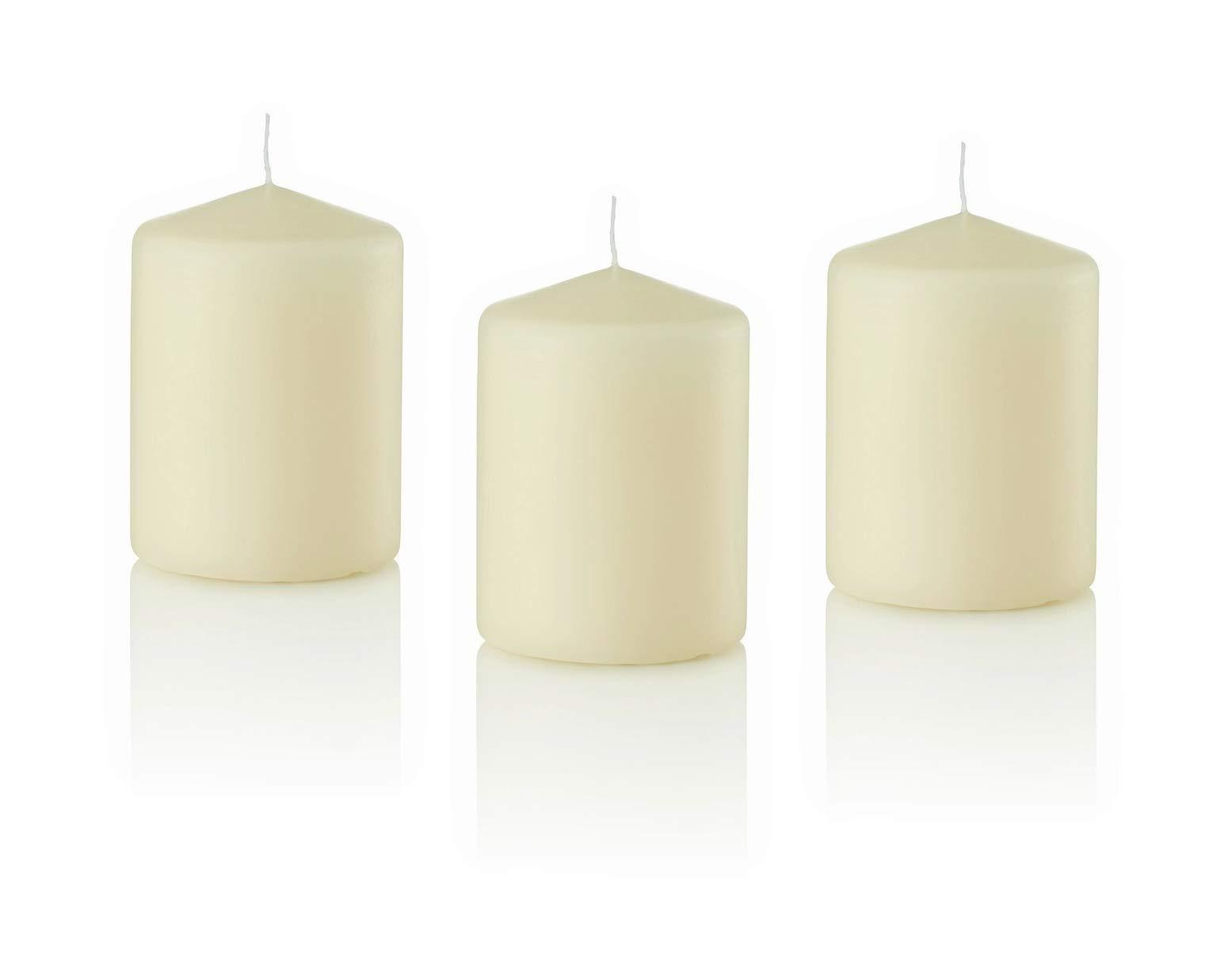 D'light Online 3 X 4 Pillar Candles Bulk Event Pack Round Unscented Ivory Pillar Candles Qty 12 - (Ivory)