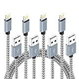 4 Pack (3ft,6ft,6ft,10ft) Nylon Braided Charging Cord Charger Compatible with PhoneX/8/8Plus 7/7 Plus/6s/6s Plus/6/6 Plus/5s/55se,Pad,Pod (Gray+White)