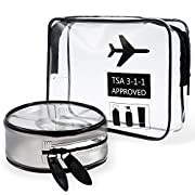 Lictin Clear Travel Toiletry Bag, 2pcs TPU Zippered TSA Approved Travel Luggage Pouch Carry On Portable Folding Airport Airline Compliant Cosmetic Makeup Bags(M)