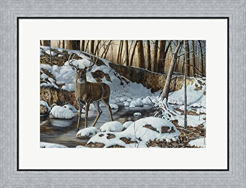River Bottom Buck by Jim Hansel Framed Art Print Wall Picture, Flat Silver Frame, 26 x 20 inches (Bottom River Buck)