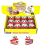Liberty Imports 12 Pack Wind-up Chattering Chomping Teeth with Eyes Halloween Toy Novelty Party Favors (One Dozen - 6 Vampire + 6 Regular)