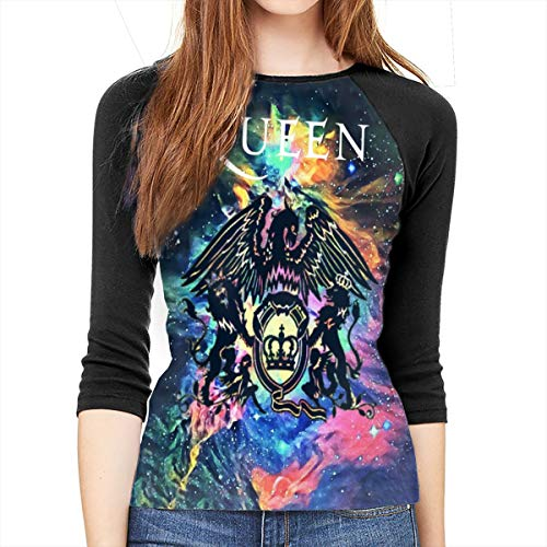 Queen Rock Band Freddie Mercury XL Womens 3/4 Sleeve 3D Baseball T-Shirt 3D Print Sports Raglan Tee Shirts ()