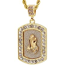 "Gold Tone Dog Tag Style Praying Hand Pave Pendant with Free 24"" Rope Chain 3152G"
