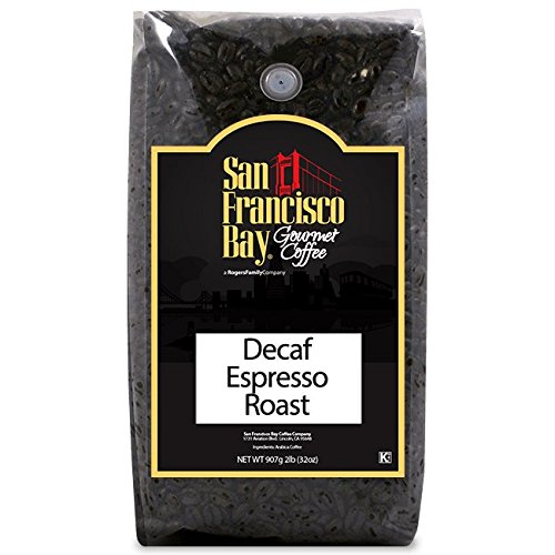 San Francisco Bay Coffee, Decaf Espresso Roast, Whole Bean, 2-Pound (32 oz.), Swiss Water Process- Decaffeinated