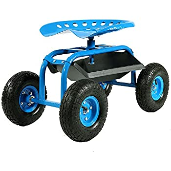Sunnydaze Blue Rolling Garden Cart With 360 Degree Swivel Seat U0026 Tray