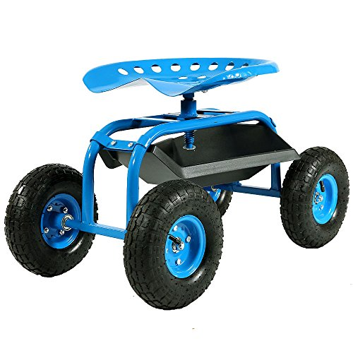(Sunnydaze Rolling Garden Cart Scooter with Wheels and Tool Tray, 360 Swivel Seat, Blue)