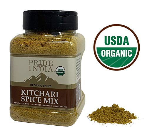 Pride Of India - Organic Indian Kitchari Spice Seasoning - 8oz (227gm) Sifting Jar - Make Perfect Tasting Rice & Lentil Pilaf - No Prep Needed - Blended with 7 Unique Vegan Spices - Mild Curry Flavor