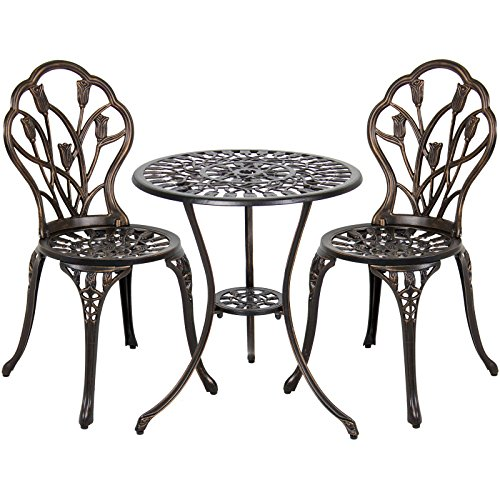 Cast Aluminum Patio Bistro Furniture Set in Antique Copper (Home Tiles Depot Rubber Patio)