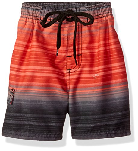 Kanu Surf Big Boys' Haywire Stripe Quick Dry Beach Board Shorts Swim Trunk, Black/Red, Medium (10/12) ()