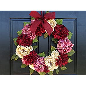 Large Spring Valentines Day Wreath for Front Door Decor; Faux Hydrangea, Dahlia and Peony Mix; Burgundy Red, Cream (Off-White) and Rose Pink; 24 Inch 5