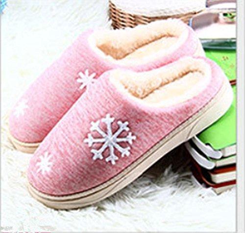 LDMB Paar Paket Ferse Verdickung warme indoor Schneeflocke Baumwolle Hausschuhe 2 Paare , pink , 41/42