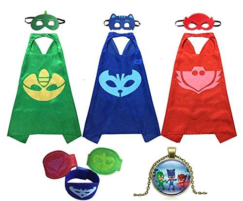 [Masks Costumes Set of 3 Catboy Owlette Gekko Mask with Cape and Bracelet For Kid] (Cat Masks For Kids)