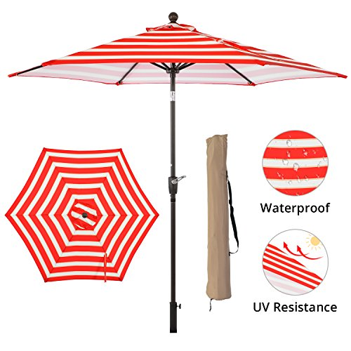 SUNLONO 9' Outdoor Patio Backyard Umbrella Garden with Sturdy Aluminum Ribs, Crank Winder, Push Button Tilt, Red and White