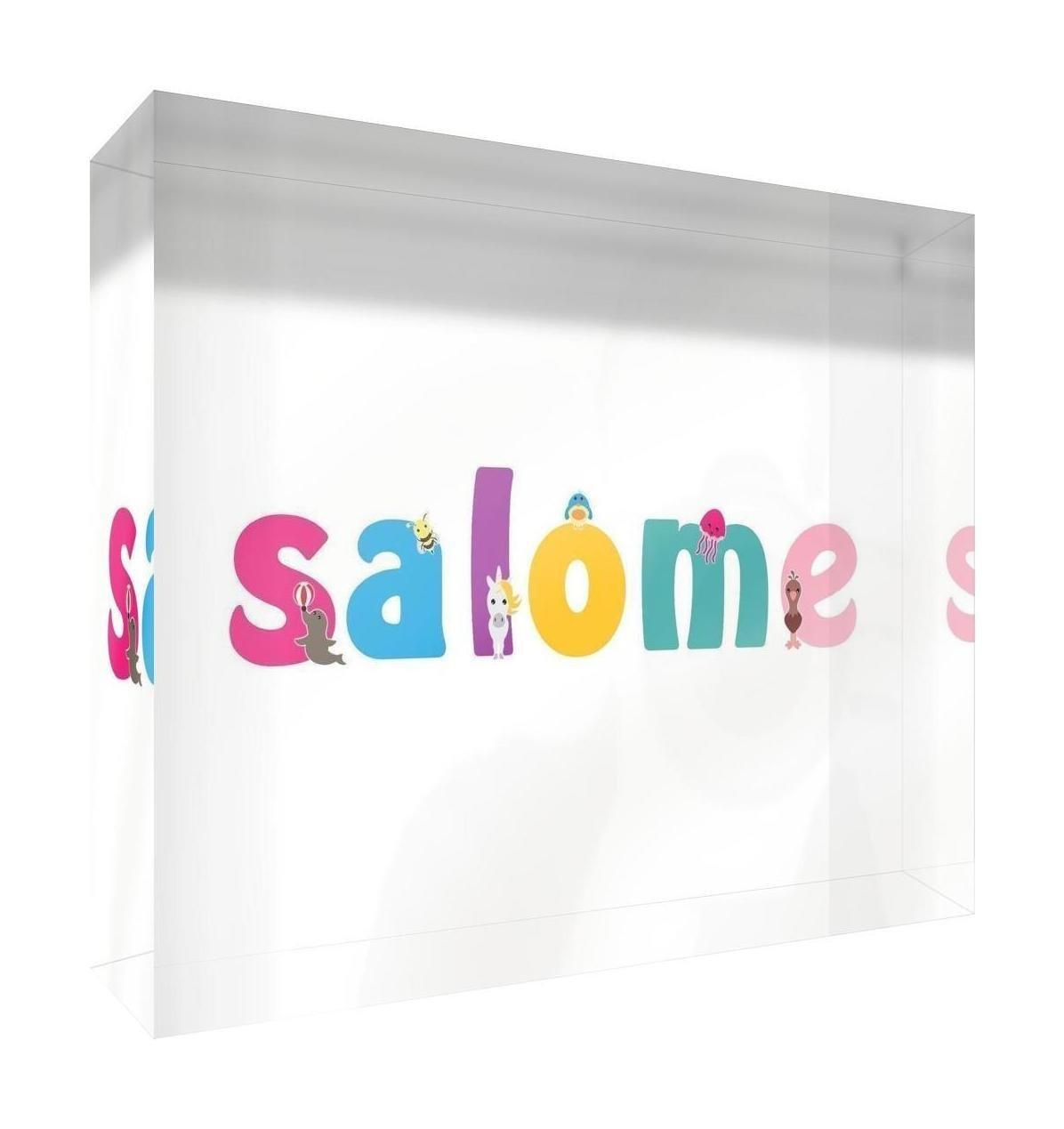 Little Helper Souvenir Décoratif en Acrylique Transparent Poli comme Diamant Style Illustratif Coloré avec le Nom de Jeune Fille Salome 5 x 15 x 2 cm Petit LHV-SALOME-515BLK-15FR