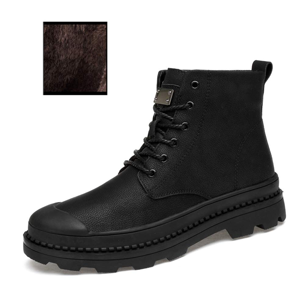 Black 46 Men's New Boots Fall Winter Casual Leather Boots Outdoor Hightop Tooling Fashion Comfortable Martin Boots Laceup Motorcycle Boots (color   Black, Size   46)