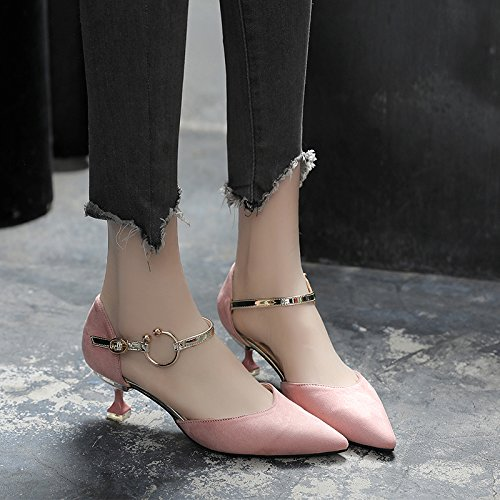Weiblich Sandaletten Spitz Shoes Katze Metallschnalle Shoesspring High Heels mit Hollow Damen Low VIVIOO Sandalen Damen High Single Heels Hochhackige mit Heeled BxIqRH0