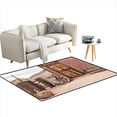 Barn Wood Wagon Wheel Floor Area Rugs Abandoned Old Farmhouse Doorway Traditional Rustic Outdoors Home Decoration Umber Light ()