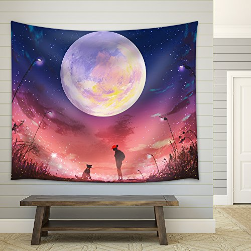 Illustration young woman with dog at beautiful night with huge moon above illustration painting Fabric Wall