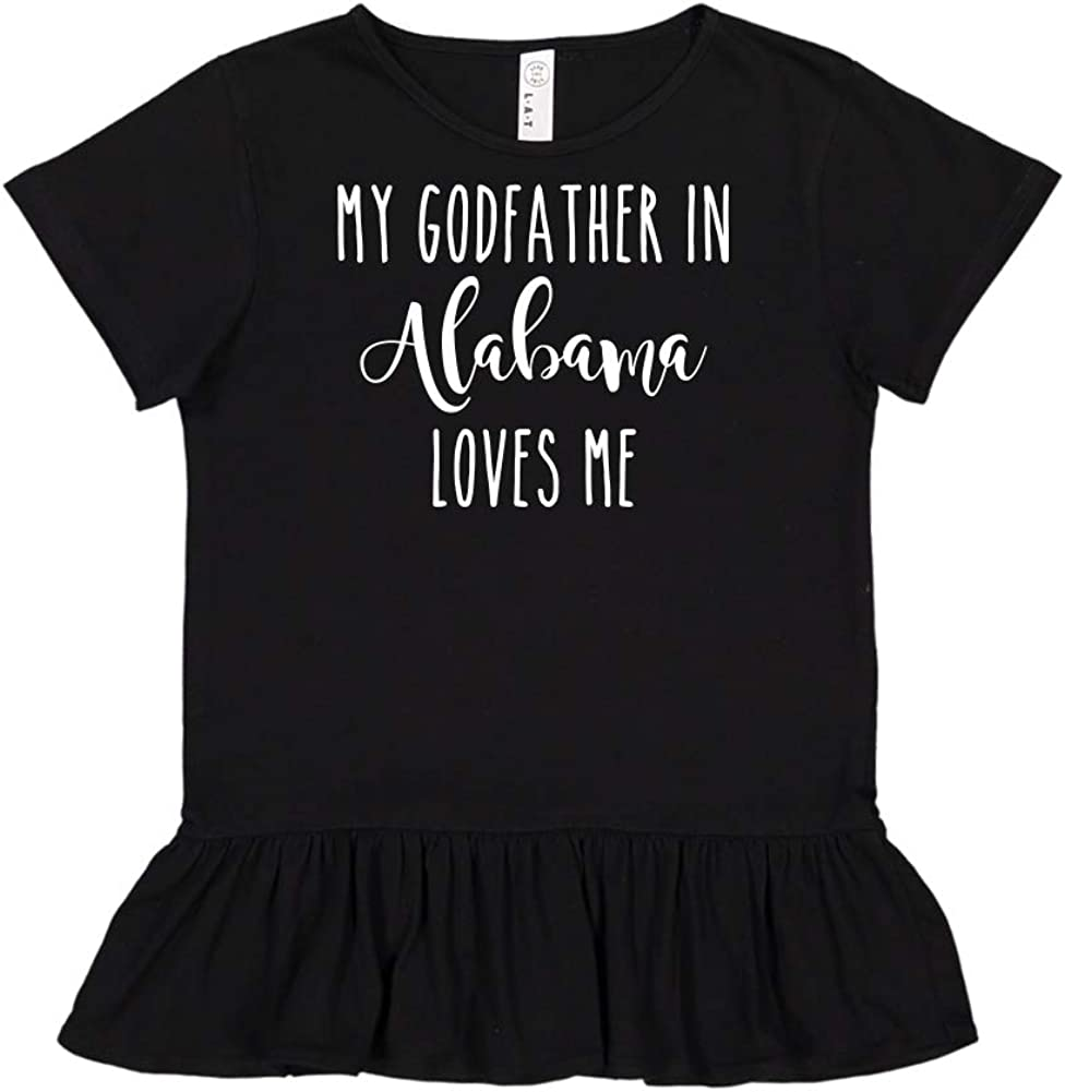 Toddler//Kids Ruffle T-Shirt My Godfather in Alabama Loves Me
