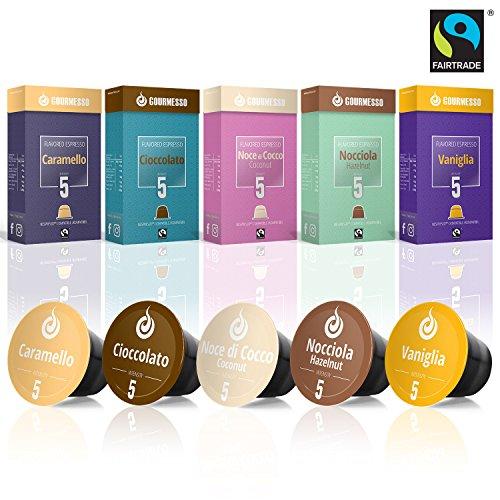 Gourmesso Flavor Bundle - 50 Nespresso Compatible Coffee Capsules - 100% Fair Trade | Includes Vanilla, Caramel, Chocolate, Hazelnut, and Coconut Flavored Espresso Pods