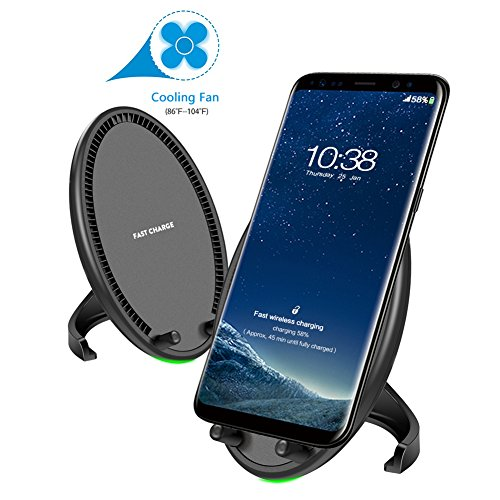 Fast Wireless Charger, iPhone X Wireless Charger with Cooling Fan Wireless Charging Stand Pad Standard wireless Charge for iPhone X/8/8 Plus and Samsung Galaxy S8 Plus S7 S6 Edge Plus Note 8/5 Nexus (Wireless Induction Charger)