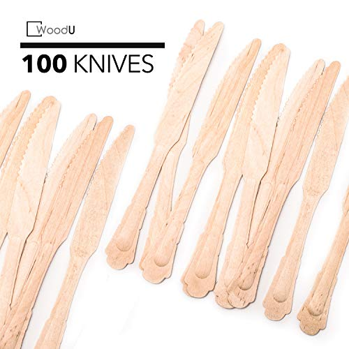 WoodU Elegant Wooden Knives – Disposable Utensils, Biodegradable, Eco-Friendly - for Special Events, Fancy Parties, Wedding Receptions (100 Pack) 7.75