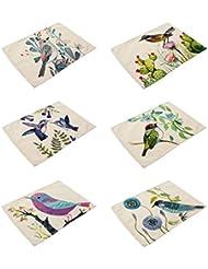 HACASO 6 Pieces Cotton Linen Placemats Bird Pattern Dining Table Mats(1)