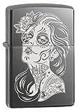 Zippo Lighter: Day of the Dead Girl, Engraved - Black Ice 77667