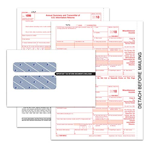 Adams 1099-MISC Tax Forms Kit for 2018-5-Part Inkjet/Laser Form Sets for 50, Three 1096 Summary Forms, 50 Security envelopes (TXA2250E)