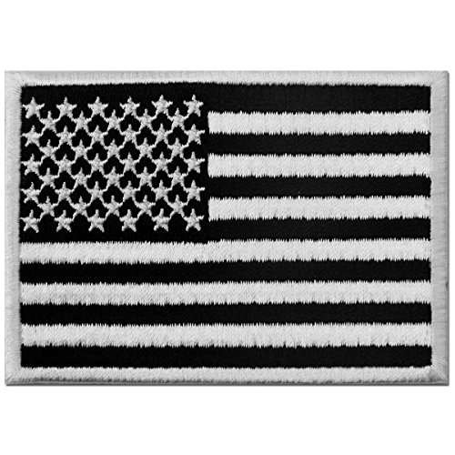 (Tactical American Flag Embroidered Patch USA United States of America Military Iron On Sew On Emblem - White & Black)