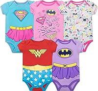 Justice League Baby Girls' 5 Pack Onesies - Wonder Woman, Batgirl and Supergirl