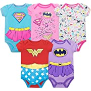Justice League Baby Girls' 5 Pack Onesies - Wonder Woman, Batgirl and Supergirl (12M)