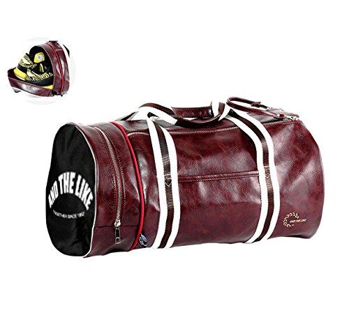 Quanjie Bolsa Gimnasio de Viaje Impermeable Bolsas Deporte PU Cuero Bolsos  Deportivos Fin de Semana Travel Duffle Bag para Hombres y Mujeres (Rojo)   ... 35d68ea6b28ff