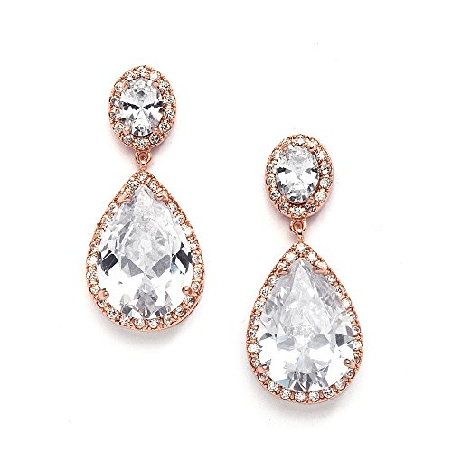 Mariell Rose Gold CZ Bridal Earrings with Oval-Cut Halo Tops and Bold Pear-Shaped Teardrop Dangles (14kt Earrings Gold Jewelry Dangle)