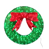 Holiday Living 36-in Indoor/outdoor Green Artificial Wreath with Multicolor LED Lights