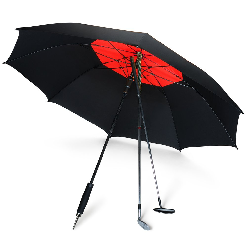 DAVEK GOLF UMBRELLA (Black/Deep Red) - Extra Large Double Canopy Umbrella, 62 Inch Coverage with Automatic Open, Windproof Tested 60 MPH