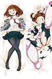 GALIGEIGEI My Hero Academia Ochaco Uraraka Hugs Pillow Cover Manga Cosplay Long Hugging Body(59 inch x 19.6 inch) Peach Skin Pillow case