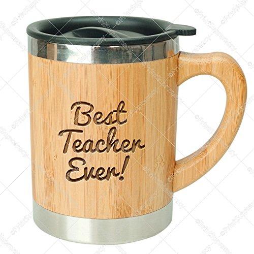 Best Teacher Ever-Stainless Steel Bamboo Coffee Mug Insulated with Lid Teacher Mug,Teacher Gifts,Kindergarten Teacher Mug, Math Teacher Gift,English Teacher Gift,Science Teacher Appreciation Gift