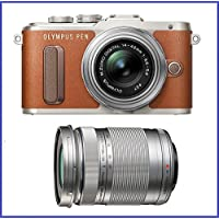 Olympus PEN E-PL8 Mirrorless Micro Four Thirds Digital Camera with 14-42mm Lens (Brown) + Olympus M.Zuiko Digital ED 40-150mm f/4.0-5.6 R Lens [Silver]