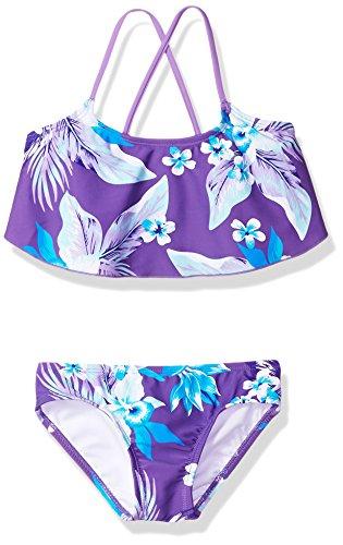 Kanu Surf Big Girls' Alania Floral Flounce Bikini Beach Sport 2-Piece Swimsuit, Purple, - Piece 2 Suit Bathing